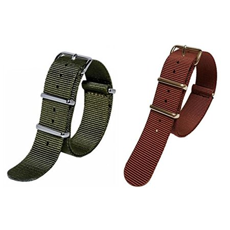 2 Piece Watch Set (Sutter & Stockton 20mm Rust and Olive Green Interchangeable Replacement Military Watch Strap Band (2 Pieces) )