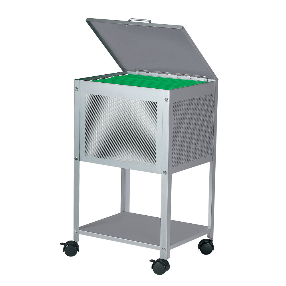 Dainolite HFC-300-SV Hanging File Cart on Casters Hinged Top 15-Inch Silver