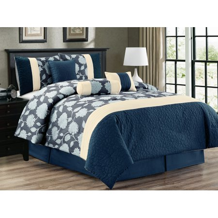 7-Pc Flocking Floral Blossom Vine Jacquard Pleated Embossed Comforter Set Denim Navy Blue Ivory Queen
