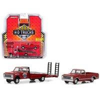 1971 Chevrolet C-30 Ramp Truck Red w/ 1968 Chevrolet C-10 Pickup Truck Red 1/64 Diecast Models by Greenlight