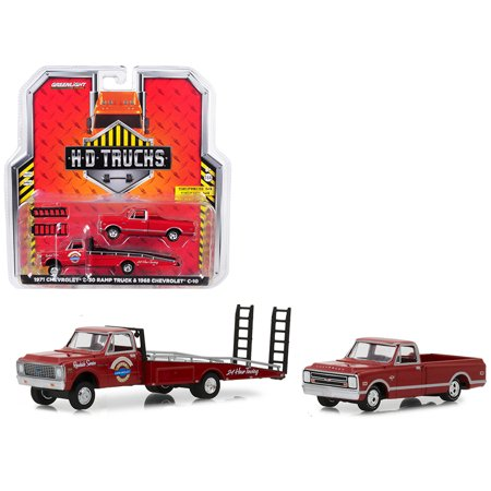1971 Chevrolet C-30 Ramp Truck Red w/ 1968 Chevrolet C-10 Pickup Truck Red 1/64 Diecast Models by Greenlight