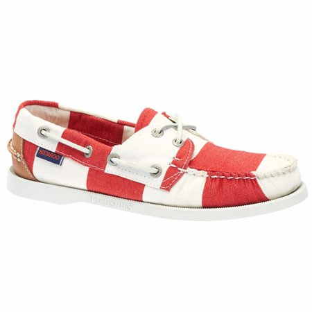 Sebago® Women's  Spinnaker Boat Shoes Red White Stripe Canvas 8.5