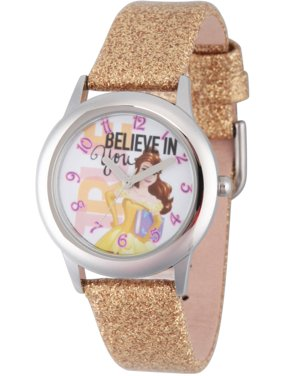 Princess Belle Girls' Stainless Steel Watch, Gold Glitter Strap