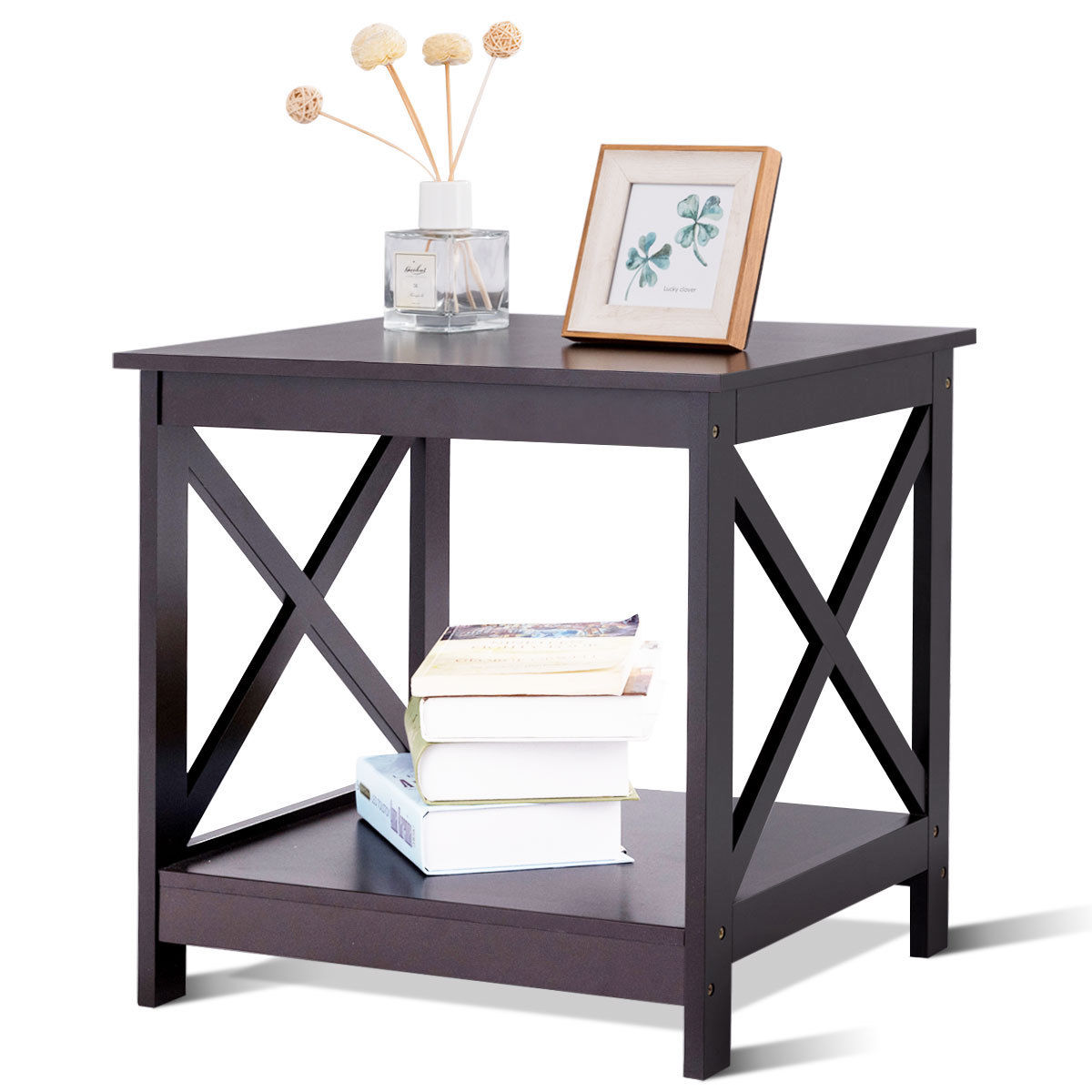 Costway End Table X Design Display Shelves Accent Sofa