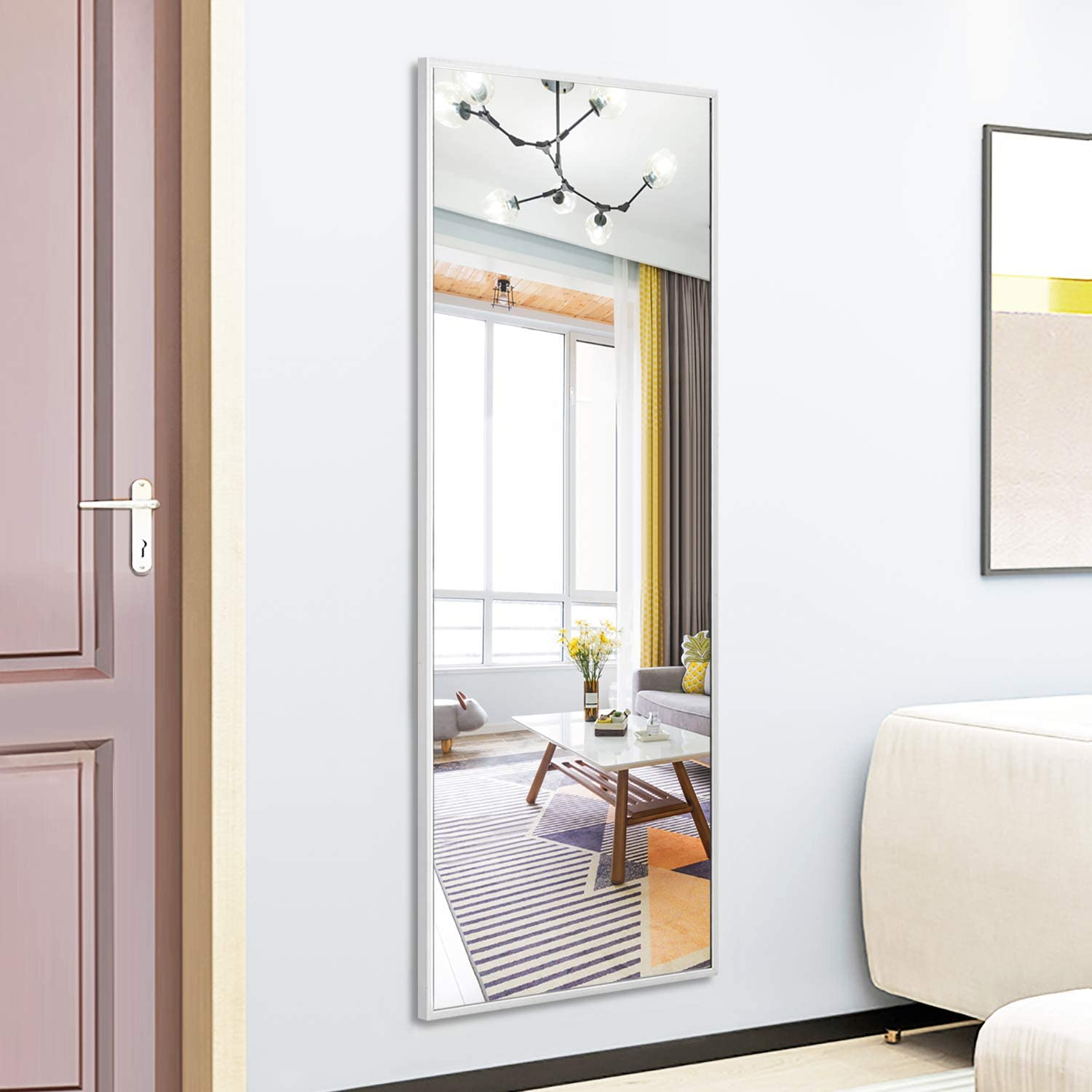 Neutype Wall Mounted Full Length Mirror 51x16 Inch Door Mirror Sleek Brushed Frame Dressing Mirror Floor Mirror For Bathroom Bedroom Living Room Home Decor Glossy Silver Walmart Com Walmart Com