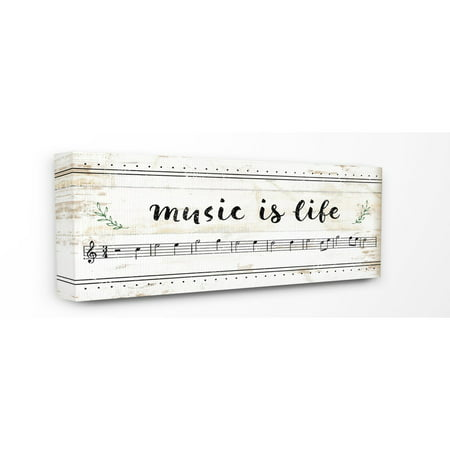The Stupell Home Decor Collection Music Is Life Composition Paper with Black and White Notes Stretched Canvas Wall Art, 10 x 1.5 x 24