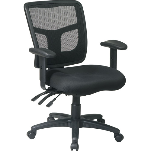 ProGrid Back Managers Office Chair with 2-Way Adjustable Arms, Black Mesh Seat