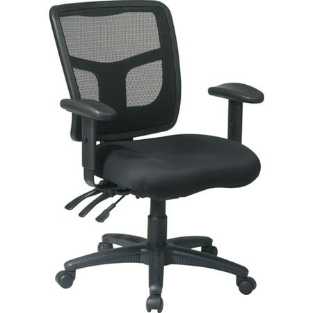 - ProGrid Back Managers Office Chair with 2-Way Adjustable Arms, Black Mesh Seat