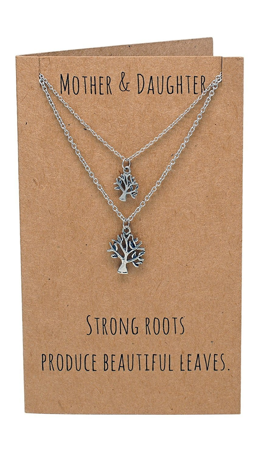Tree Of Life Pendant Mother Daughter Necklace Set For 2 Birthday Presents Mom And Daughters Mothers Day Gifts With Inspiration Quote On Greeting Card
