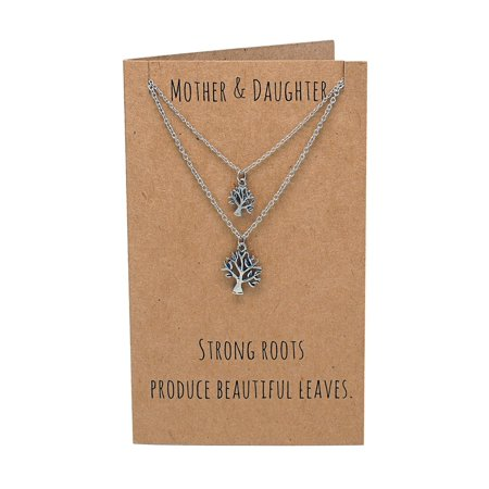 Tree Of Life Pendant Mother Daughter Necklace Set For 2 Birthday Presents Mom And
