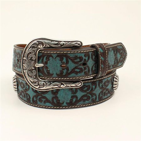 Ariat A1527027-S 1.50 in. Scrolling Starburst Conchos Ladies Leather Belt & Buckle, Blue - Small - image 1 of 1