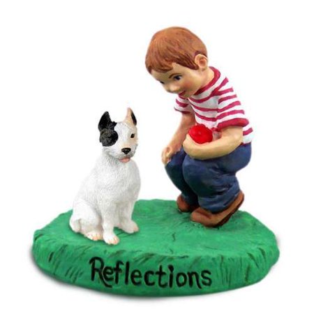 RBD65A CON Pit Bull Terrier White Reflections w/Boy Figurine