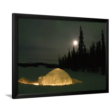 - Igloo with Lights at Night by Moonlight, Northwest Territories, Canada March 2007 Framed Print Wall Art By Eric Baccega