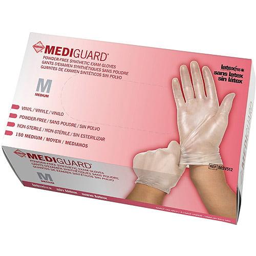Medline Powder-Free Synthetic Vinyl Exam Gloves, Medium, Case of 1500