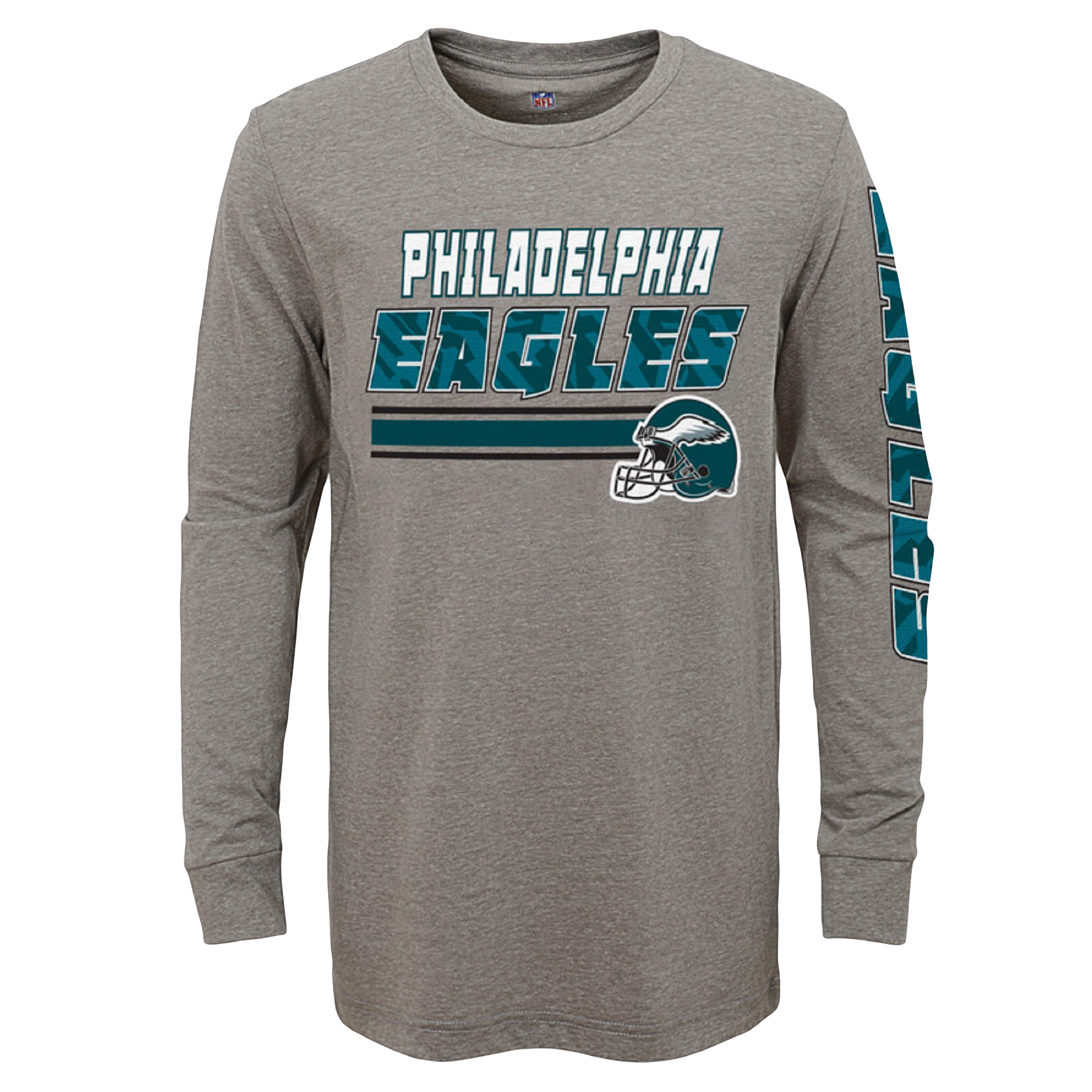 Youth Gray Philadelphia Eagles Tri-Blend Long Sleeve T-Shirt