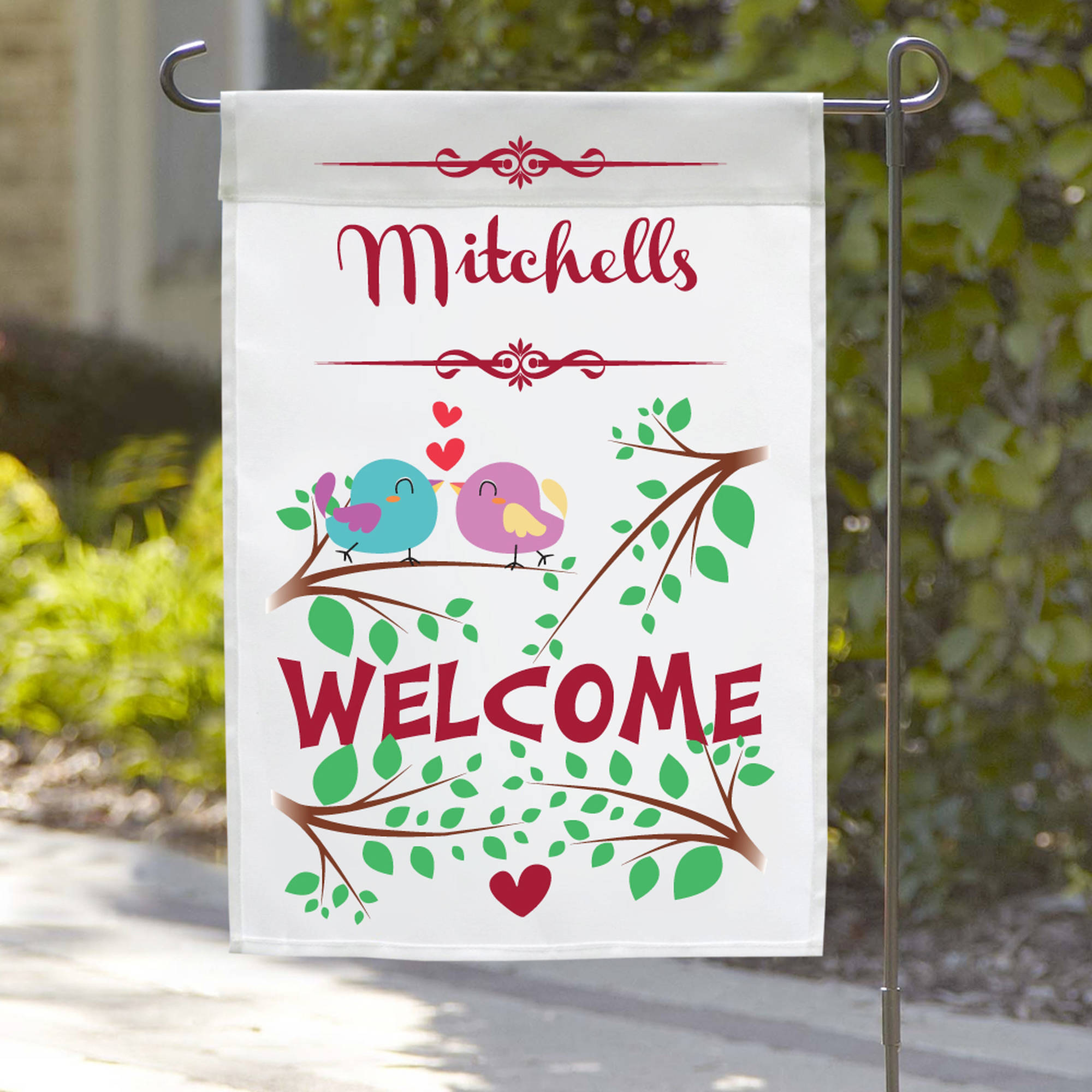 "Personalized Love Birds Welcome Garden Flag, 18"" x 12"""
