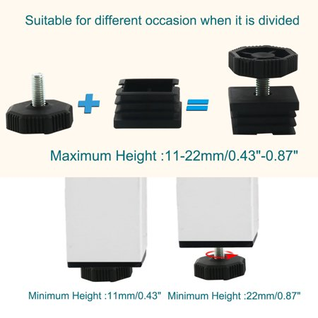 Leveling Feet 38 x 38mm Square Tube Inserts Kit Furniture Glide Adjustable Leveler for Table Sofa Chair Leg 2 Sets - image 3 de 7