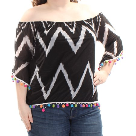 defdae1792d51 INC - INC Womens Black Fringed Chevron Kimono Sleeve Off Shoulder Top Size   XXL - Walmart.com