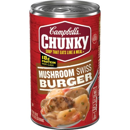 (4 Pack) Campbell's Chunky Mushroom Swiss Burger Soup, 18.8 oz.