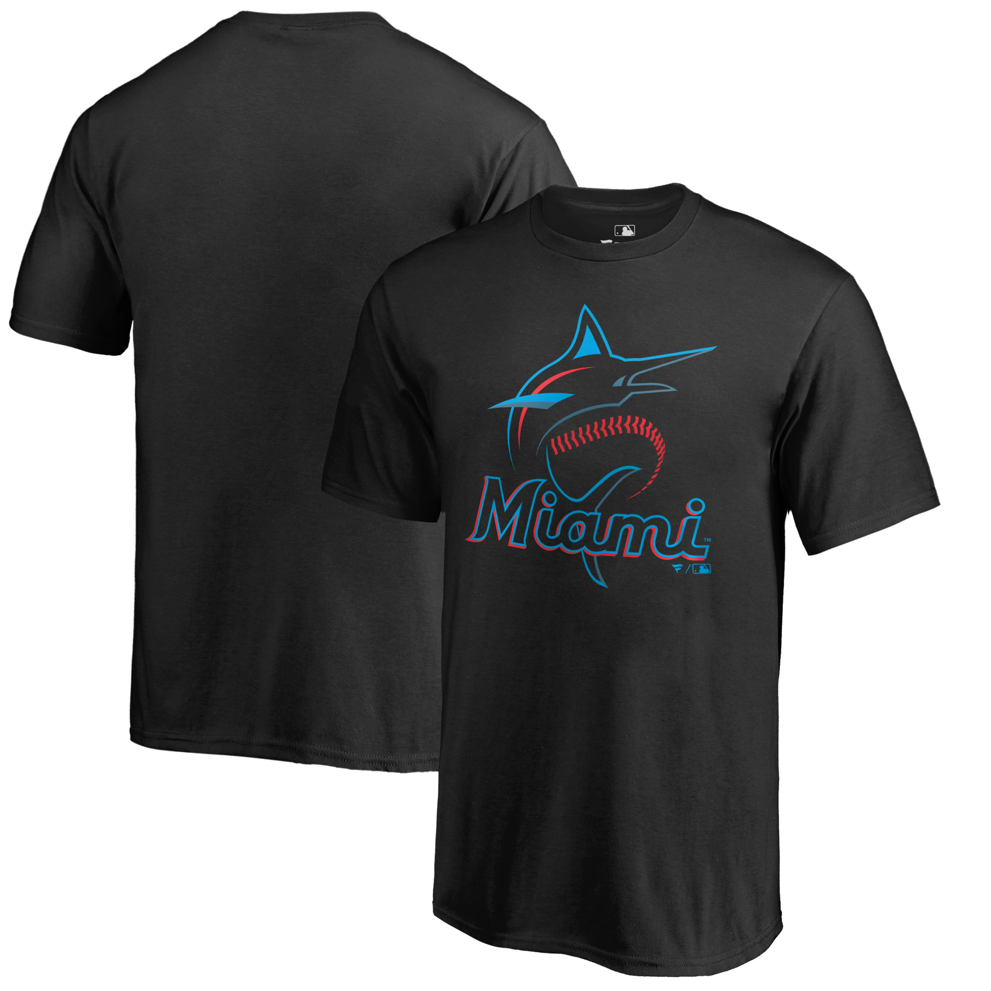 Miami Marlins Fanatics Branded Youth Primary Logo T-Shirt - Black