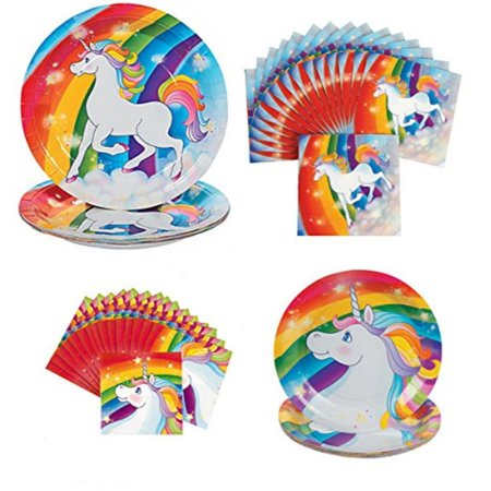 Rainbow Unicorn Party Supplies for 16 People 64 pcs Set 16 Lunch or Dinner Plates 16 Dessert Plates and 32 Napkins by CBD - Rainbow Unicorn Party Supplies