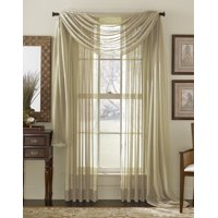 "Decotex 2 Piece Elegant Solid Sheer Window Curtain Panels Treatment Drapes (55"" X 108"", White)"