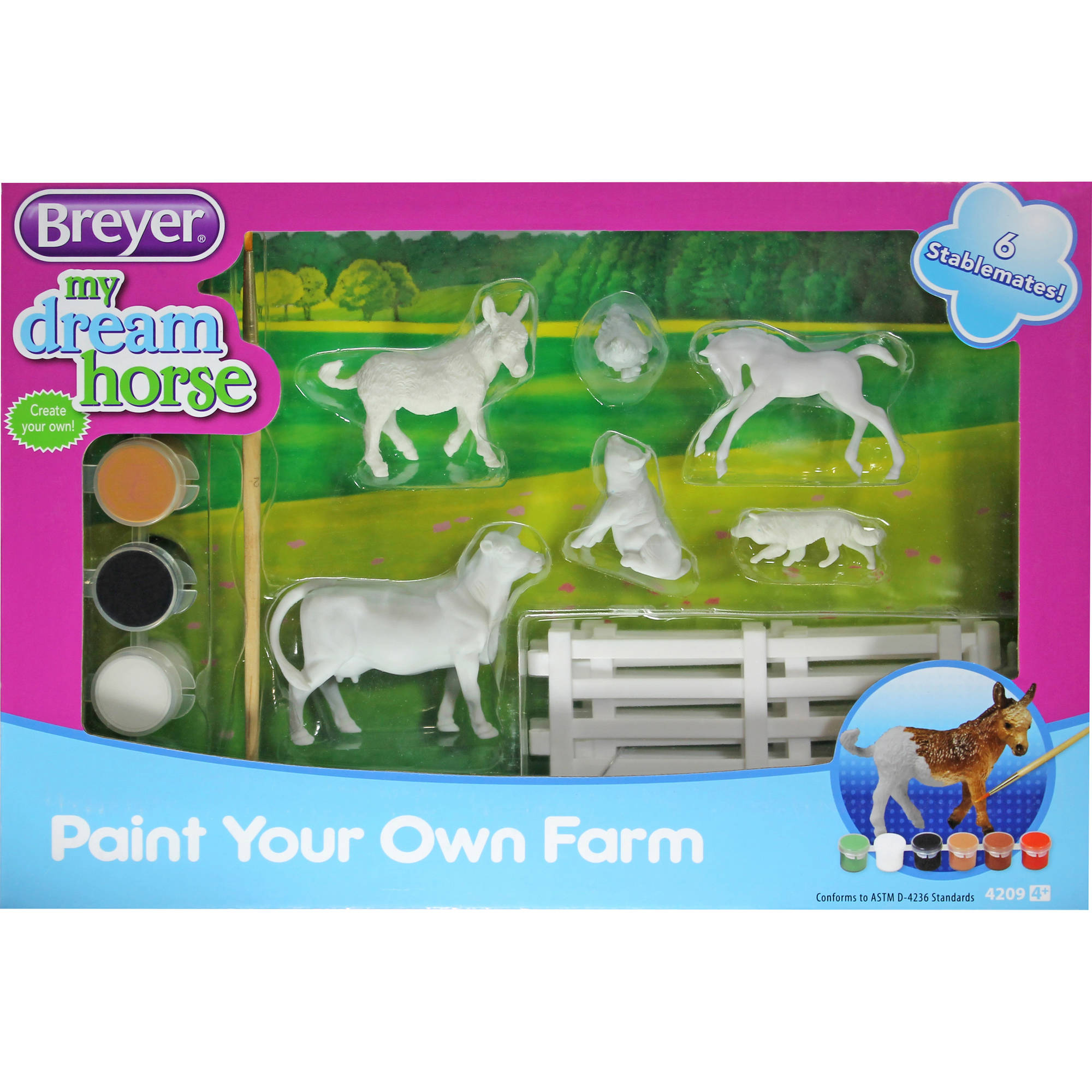 Breyer Stablemates My Dream Horse Paint Your Own Farm with 6 Animals by Breyer