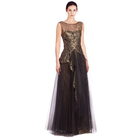 Marchesa Notte Metallic Lace Layered Tulle Illusion Neckline Evening Gown  Dress bb24b46cd