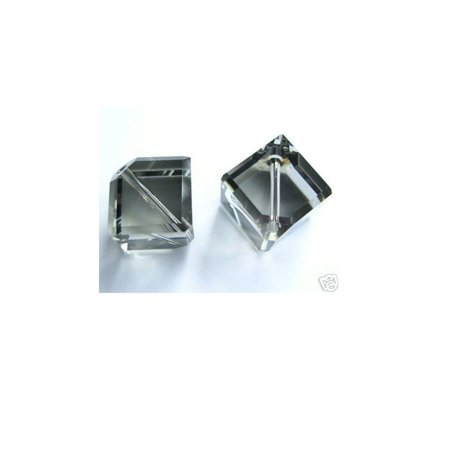Swarovski Article #5600 Crystal Diagonal Cube Beads 8mm Black Diamond Package of 10 (Swarovski Diagonal Cube)