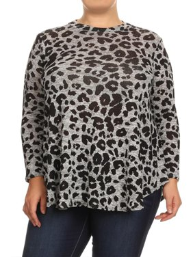 86e36a51290 Product Image MOA COLLECTION Women s Plus Size Leopard Pattern Print Loose  Fit Long Sleeve Casual Knit Tunic Top