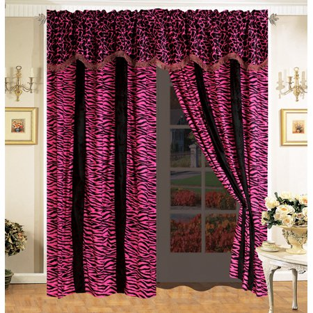 4-Pc Safari Micro Fur Curtain Set Giraffe Zebra Black Pink Drape Valance Liner Faux ()