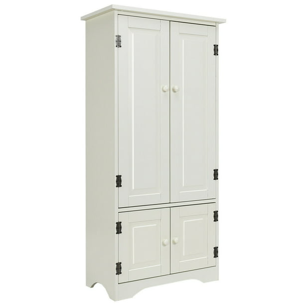 Costway Accent Storage Cabinet Adjustable Shelves Antique 2 Door Floor Cabinet White