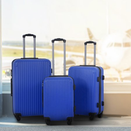 3 Pcs Luggage Travel Set Bag ABS Trolley Suitcase 4 Color 348 Blue (Stacking Suitcase Set)