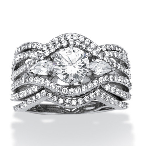 Palm Beach Jewelry Platinum Over Silver Pear Cut Cubic Zirconia Ring Set