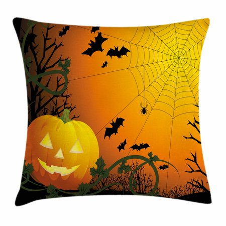 Spider Web Throw Pillow Cushion Cover, Halloween Themed Composition with Pumpkin Leaves Trees Web and Bats, Decorative Square Accent Pillow Case, 16 X 16 Inches, Orange Dark Green Black, by Ambesonne - Halloween Pillow