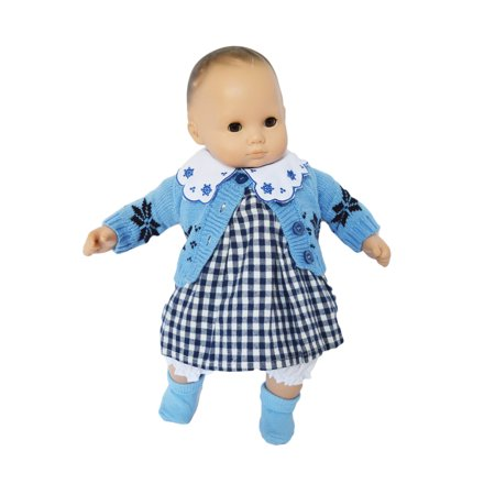 My Brittany's Blue Sweater Dress Set for Bitty Baby and Bitty Twins- 15 Inch Baby Doll Clothes- Doll and socks are  not included