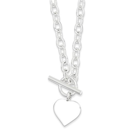 Discount Heart - Sterling Silver 18in Engraveable Heart Necklace