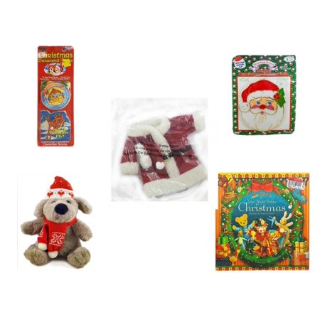 Christmas Fun Gift Bundle [5 Piece] - Xmas Ornamentbooks: Grandfather's Nativity, Reindeer - Jumbo  Suncatcher Santa - 2011 Avon Santa Outfit Wine Bottle Cover  - Soft & Cuddly  Dog Sitting  12