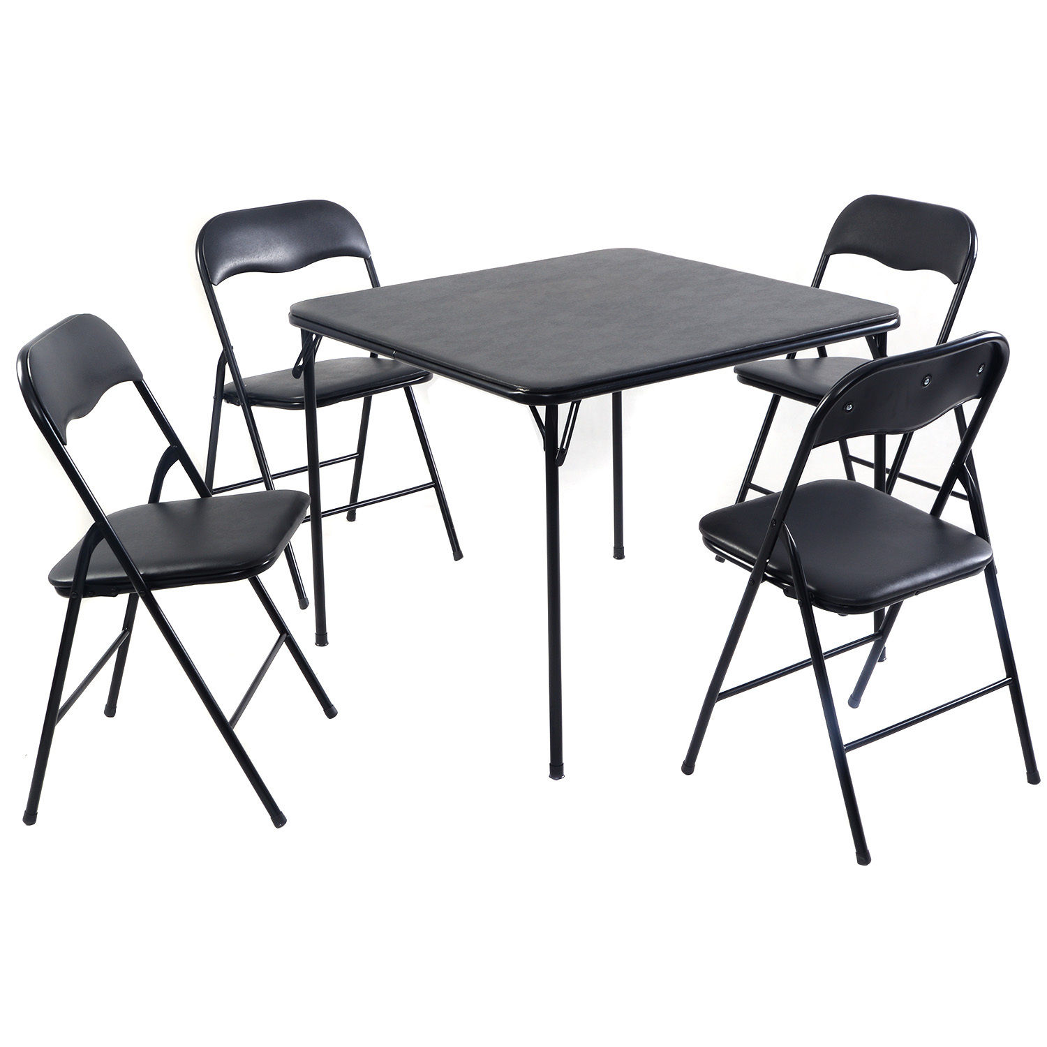 Costway 5PC Black Folding Table Chair Set Guest Games Dining Room