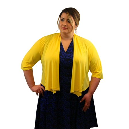 SleekTrends Women Plus Size Elbow Sleeve Shawl Collar Bolero