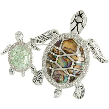 Napier Rhinestone & Abalone Turtle Mom & Baby Pin One Size Silver tone/green Napier Gold Tone Brooch
