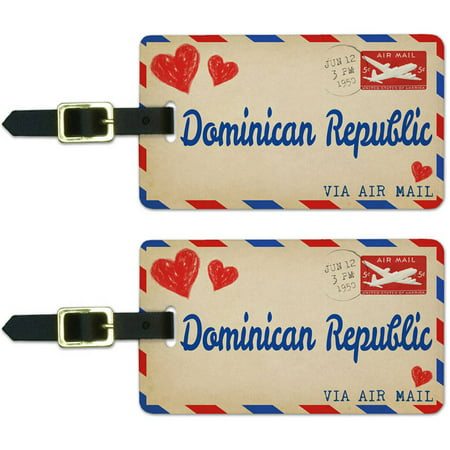 Air Mail Postcard Love for Dominican Republic Luggage Suitcase ID Tags, Set of 2
