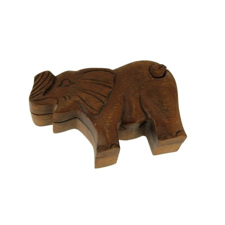 Crystal Elephant Trinket Box - Hand Carved Wooden Elephant Trinket Puzzle Box