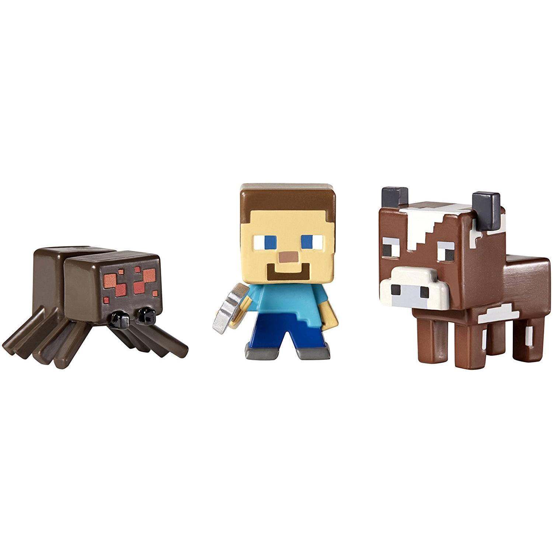 Minecraft Mini Figure 3-Pack Killer Bunny, Spawning Zombie Pigman, Alex with Gold Armor