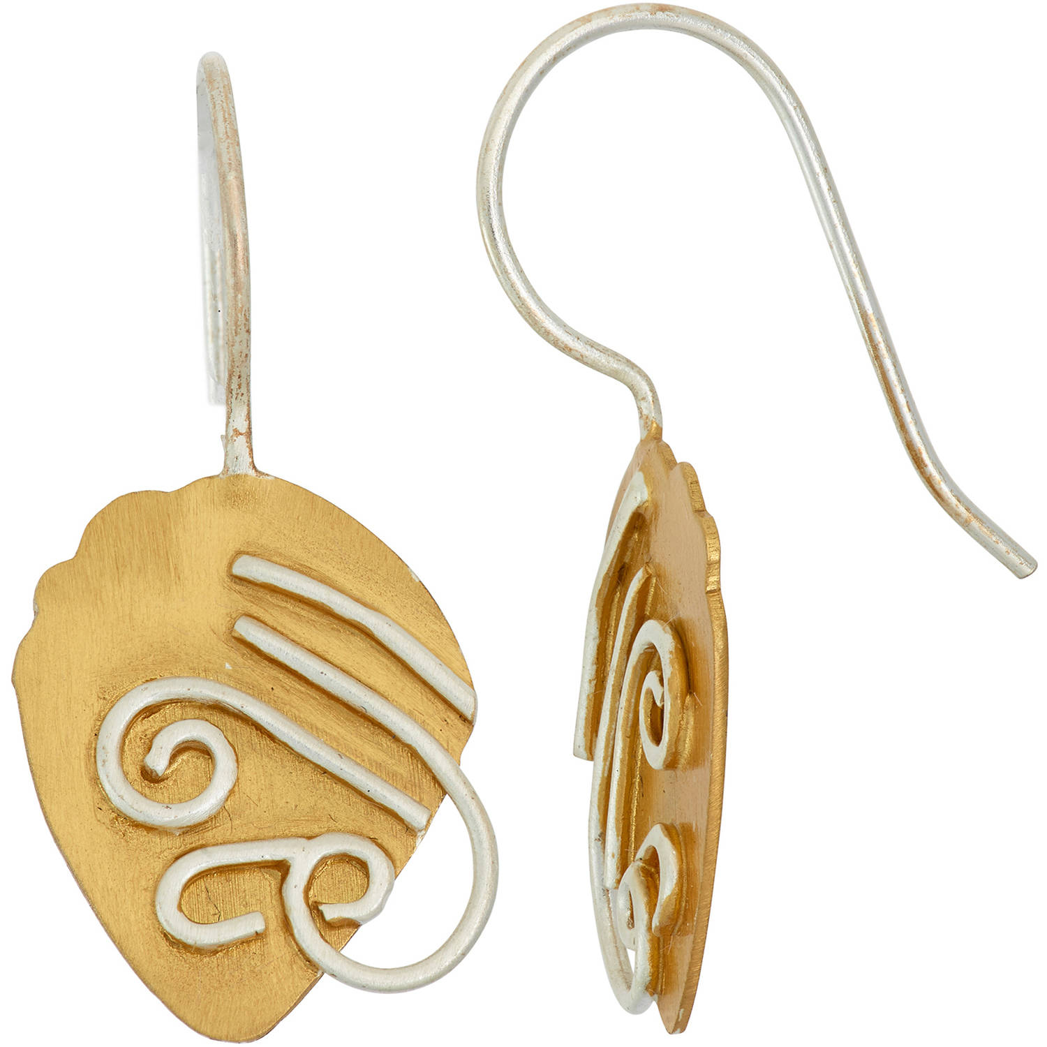 Image of 5th & Main 14kt Gold-Plated and Sterling Silver Acorn Earrings with Silver Scroll