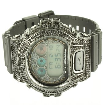 G Shock Digital DW6900 Mens Silicon Band LED Watch Black Lab Created Cubic Zirconia Kc Techno