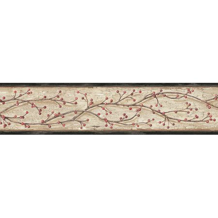 Brewster Home Fashions Pure Country Florence Winterberry Branch Trail 15' x 4.25'' Floral and Botanical 3D Embossed Border - Trail Wallpaper