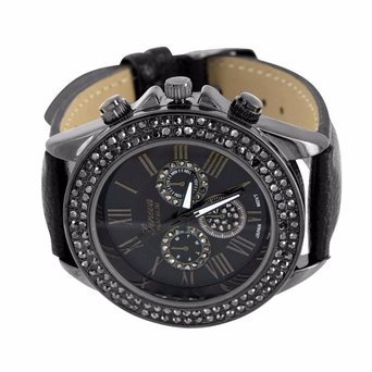 Ladies Roman Numeral Watch Geneva Platinum Black Simulated Diamonds Water Resist
