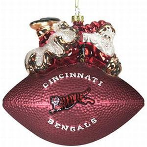 "Cincinnati Bengals 5 1/2"" Peggy Abrams Glass Football Ornament - image 1 de 1"