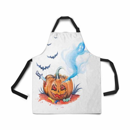 ASHLEIGH Adjustable Bib Apron for Women Men Girls Chef with Pockets Watercolor Halloween Evil Smiling Pumpkin Ghost Bat Novelty Kitchen Apron for Cooking Baking Gardening Pet Grooming Cleaning](Cooking Your Halloween Pumpkin)